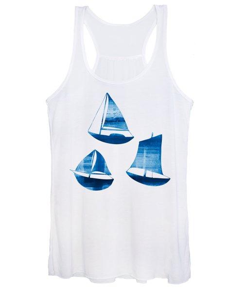 3 Little Blue Sailing Boats Women's Tank Top
