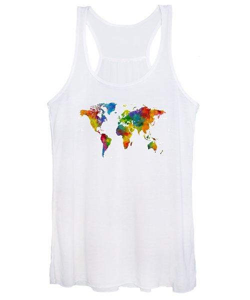 Map Of The World Map Watercolor Women's Tank Top