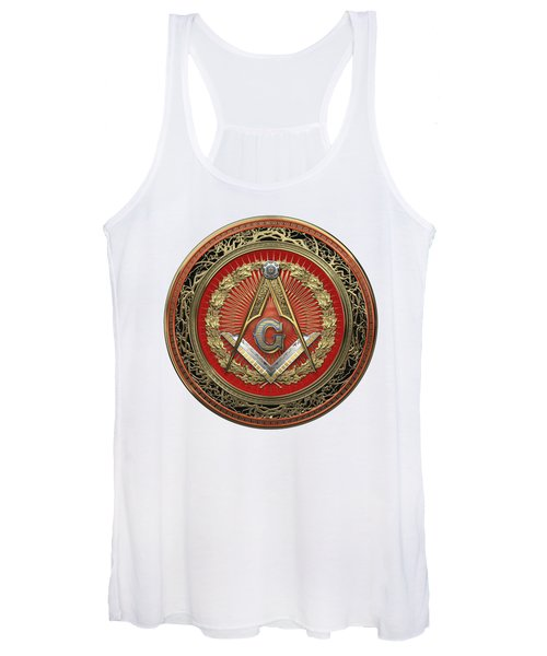 3rd Degree Mason Gold Jewel - Master Mason Square And Compasses Over White Leather Women's Tank Top