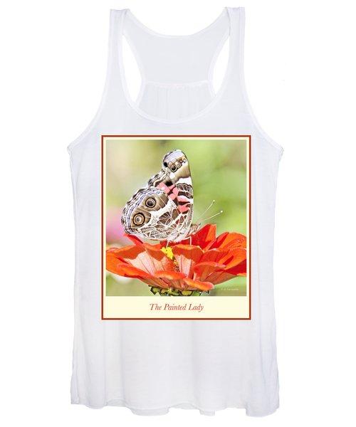 Painted Lady Butterfly On Zinnia Flower Women's Tank Top
