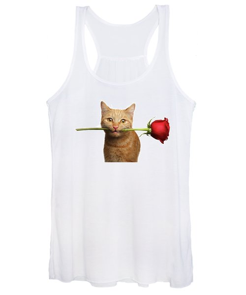 Portrait Of Ginger Cat Brought Rose As A Gift Women's Tank Top
