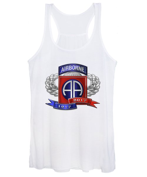 82nd Airborne Division 100th Anniversary Insignia Over White Leather Women's Tank Top