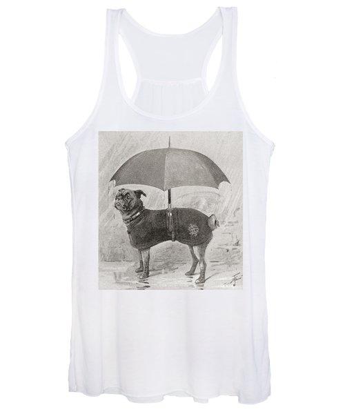A Pug Wearing Boots, Coat And Umbrella Women's Tank Top