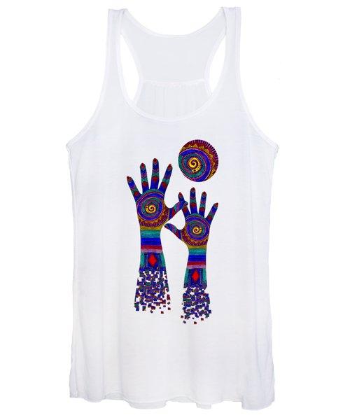 Aboriginal Hands Blue Transparent Background Women's Tank Top