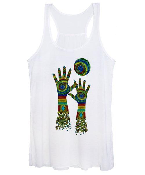 Aboriginal Hands Gold Transparent Background Women's Tank Top
