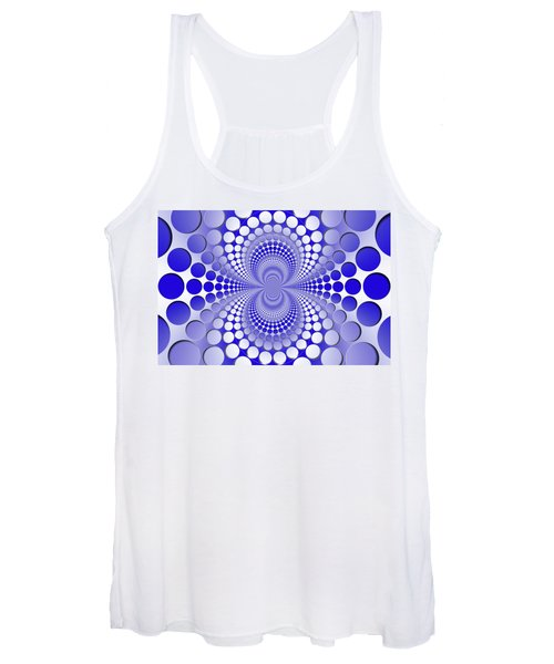 Abstract Blue And White Pattern Women's Tank Top