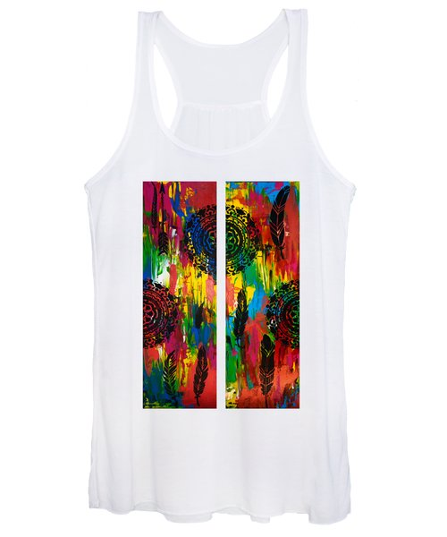 Abstract Boho Design - Diptych By Nikki And Kaye Menner Women's Tank Top