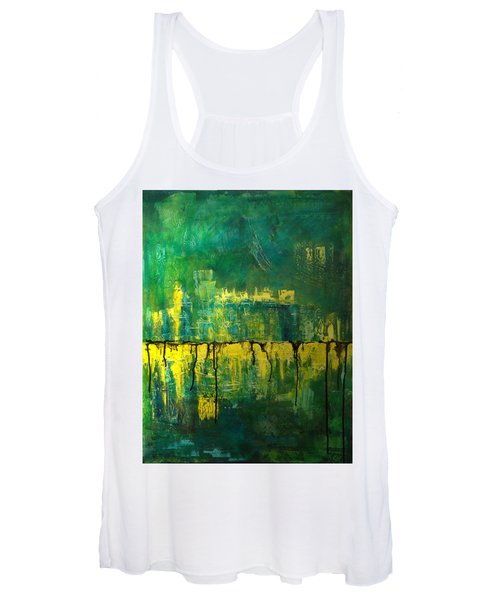 Abstract In Yellow And Green Women's Tank Top