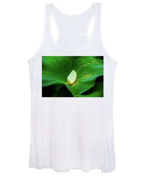 Abstract Leaves Of Green And Yellow Women's Tank Top