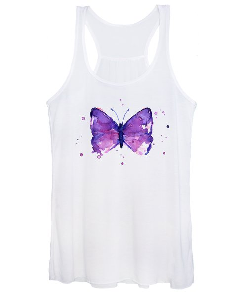 Abstract Purple Butterfly Watercolor Women's Tank Top