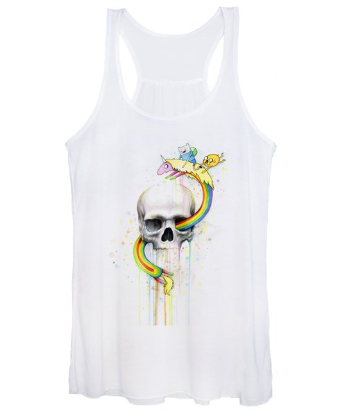 Adventure Time Skull Jake Finn Lady Rainicorn Watercolor Women's Tank Top