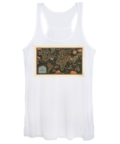 Air France - Historical Illustrated Map Of The World - Pictorial Map - Cartography Women's Tank Top