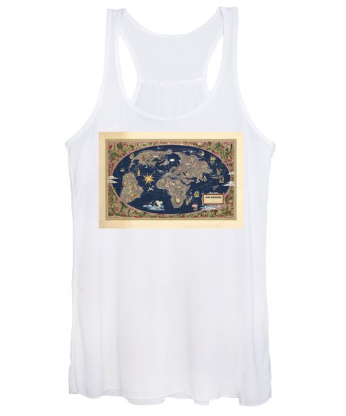 Air France - Illustrated Map Of The Air Routes By Lucien Boucher - Historical Map Of The World Women's Tank Top
