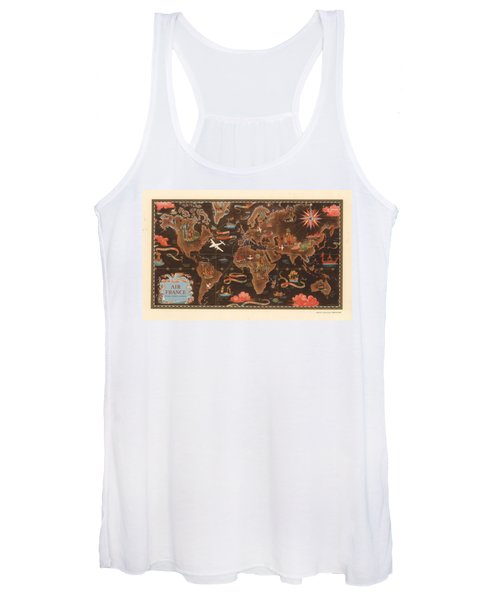 Air France - Vintage Illustrated Map Of The World - Lucien Boucher - Cartography Women's Tank Top