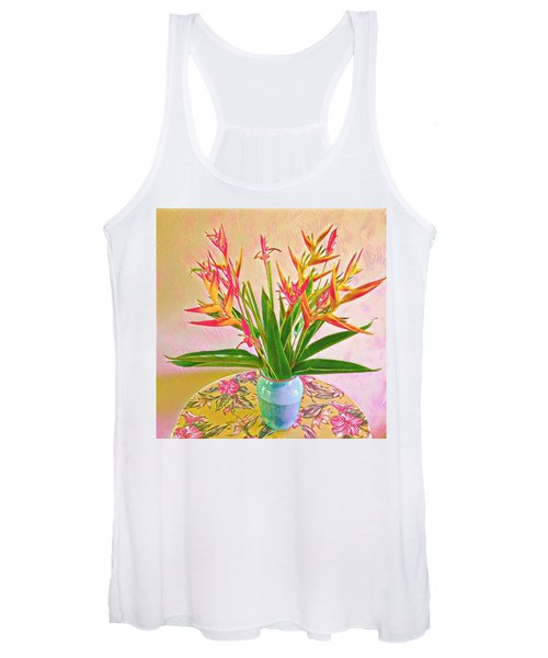 Aloha Bouquet Of The Day Halyconia And Birds In Pink Women's Tank Top