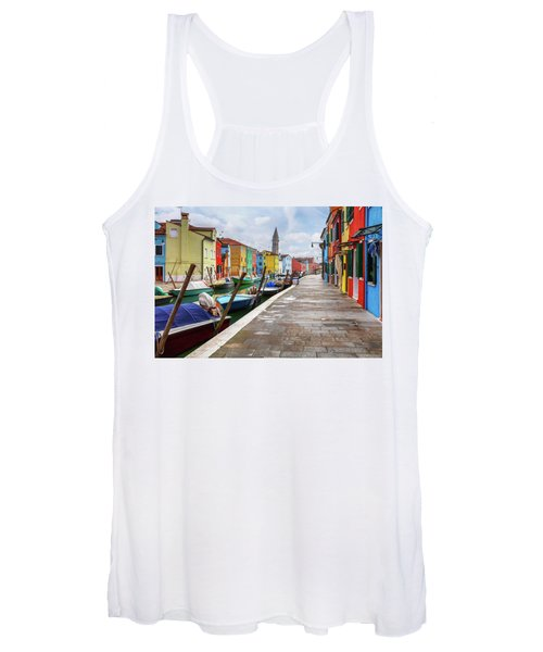 Along The Canal In Burano Island Women's Tank Top