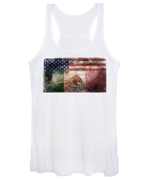 American Mexican Tattered Flag  Women's Tank Top