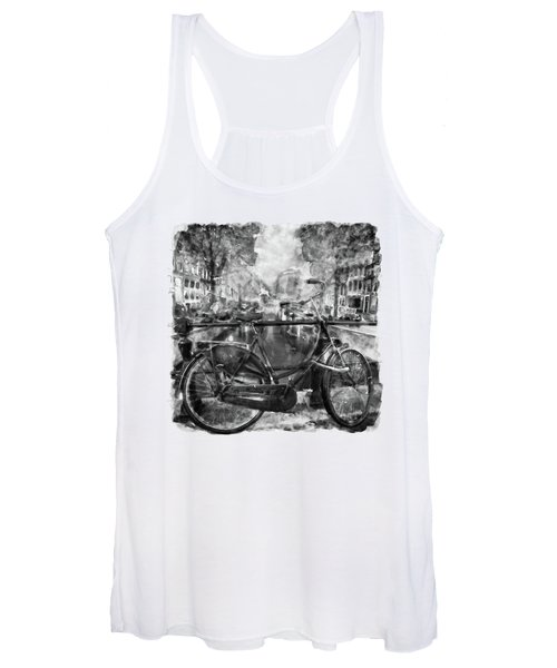Amsterdam Bicycle Black And White Women's Tank Top