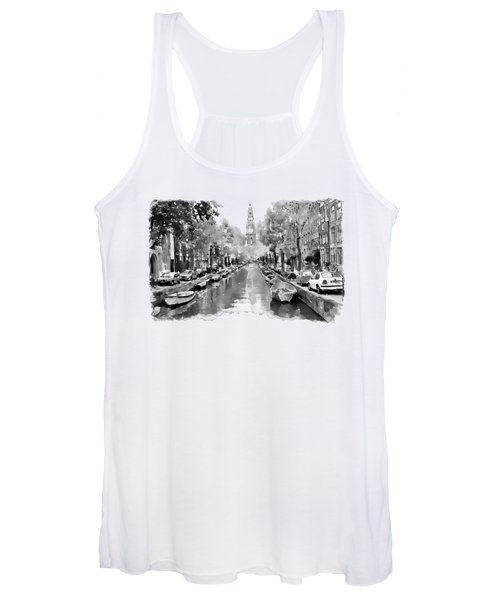 Amsterdam Canal 2 Black And White Women's Tank Top