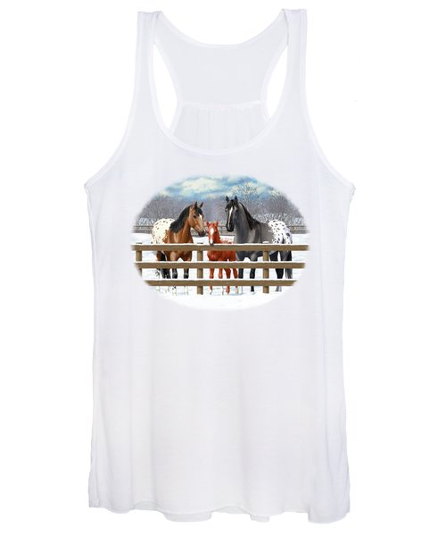Appaloosa Horses In Winter Ranch Corral Women's Tank Top