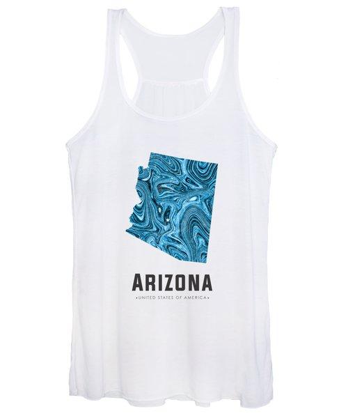 Arizona Map Art Abstract In Blue Women's Tank Top