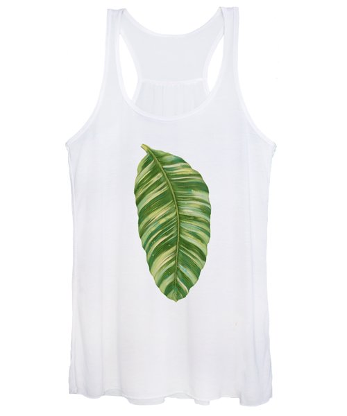 Rainforest Resort - Tropical Leaves Elephant's Ear Philodendron Banana Leaf Women's Tank Top