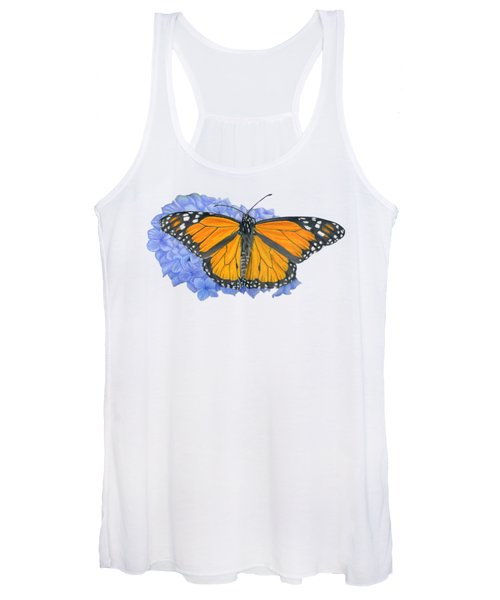 Monarch Butterfly And Hydrangea- Transparent Background Women's Tank Top