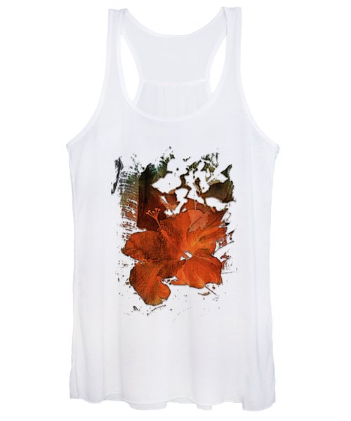 Hibiscus S D Z 2 Earthy Rainbow 3 Dimensional Women's Tank Top