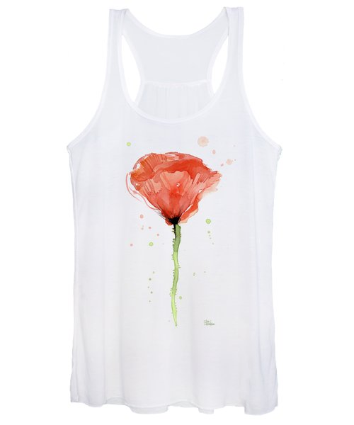 Abstract Red Poppy Watercolor Women's Tank Top