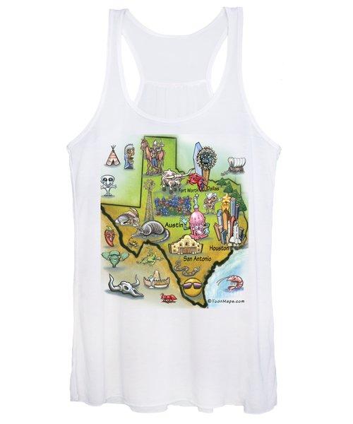 Texas Cartoon Map Women's Tank Top