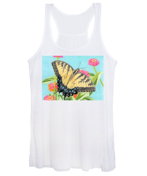 Swallowtail Butterfly And Zinnias Women's Tank Top