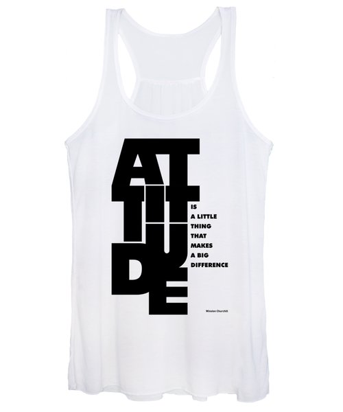 Attitude - Winston Churchill Inspirational Typographic Quote Art Poster Women's Tank Top