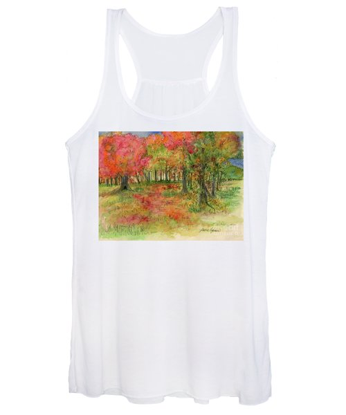 Autumn Forest Watercolor Illustration Women's Tank Top
