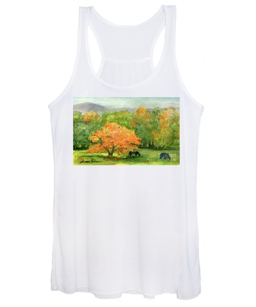 Autumn Maple With Horses Grazing Women's Tank Top