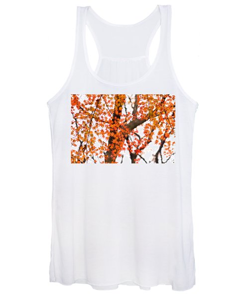 Autumn Red Leaves On A Tree   Women's Tank Top