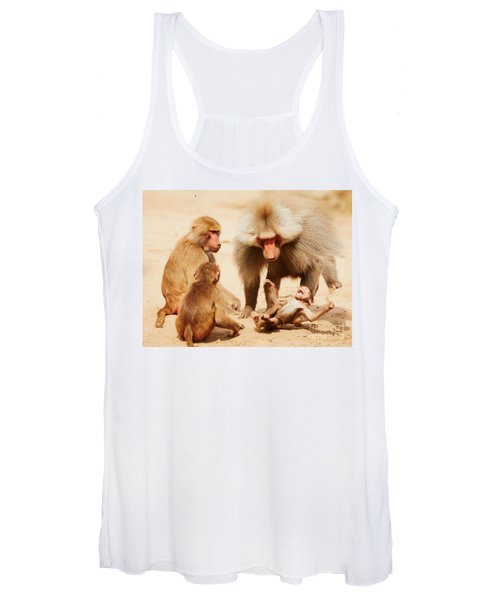 Baboon Family Having Fun In The Desert Women's Tank Top