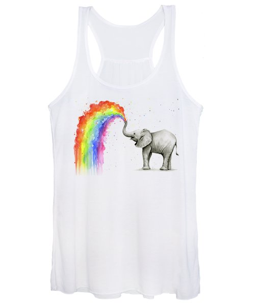 Baby Elephant Spraying Rainbow Women's Tank Top