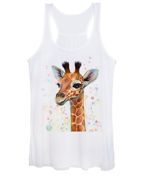 Baby Giraffe Watercolor  Women's Tank Top