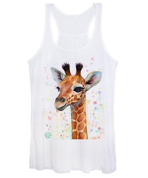 Baby Giraffe Watercolor  Women's Tank Top