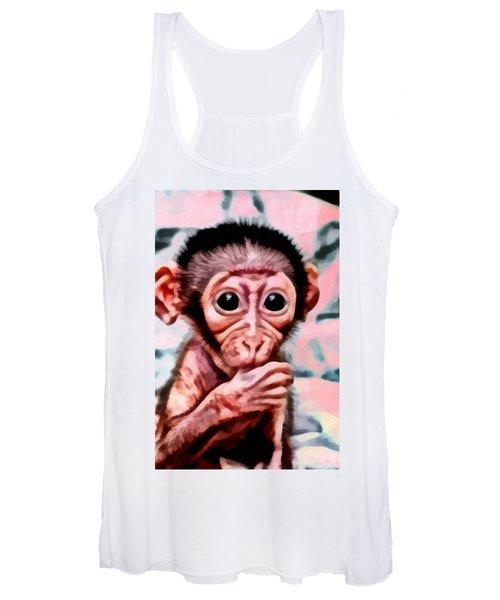 Baby Monkey Realistic Women's Tank Top