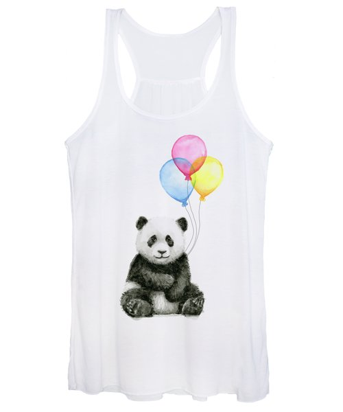 Baby Panda Watercolor With Balloons Women's Tank Top