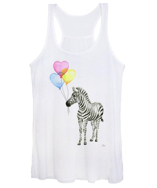 Baby Zebra Watercolor Animal With Balloons Women's Tank Top