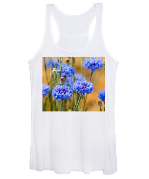 Bachelor Buttons In Blue Women's Tank Top