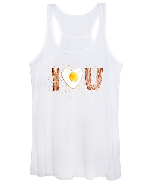 Bacon And Egg I Heart You Watercolor Women's Tank Top