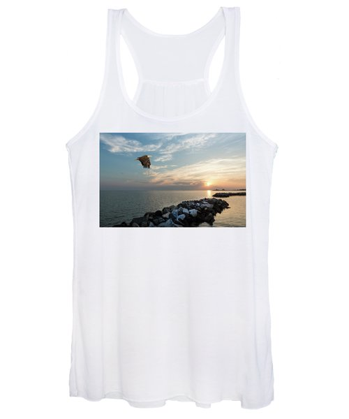 Bald Eagle Flying Over A Jetty At Sunset Women's Tank Top