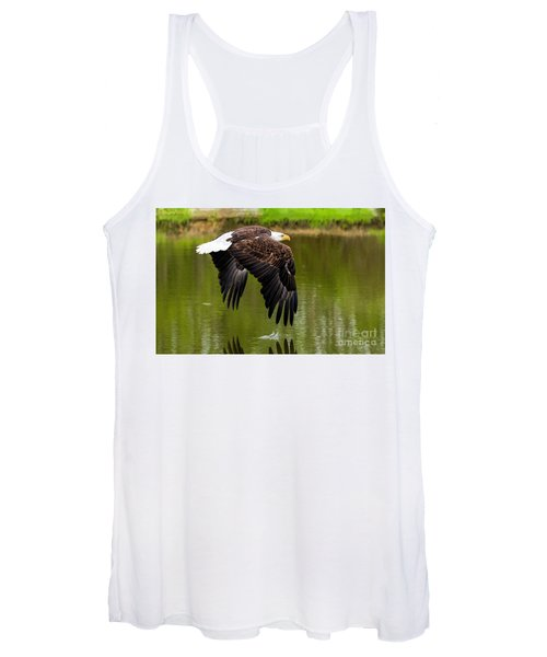 Bald Eagle Over A Pond Women's Tank Top