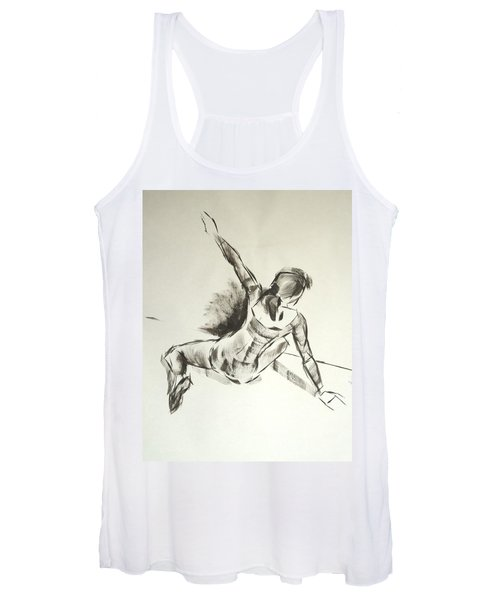 Ballet Dancer Sitting On Floor With Weight On Her Right Arm Women's Tank Top