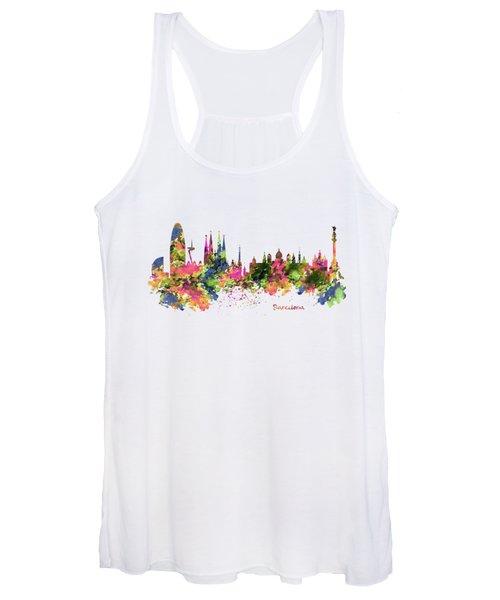 Barcelona Watercolor Skyline Women's Tank Top