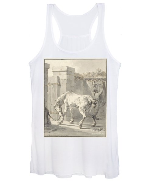 Bareback Horse By The Bridle Attached To A Pole Women's Tank Top