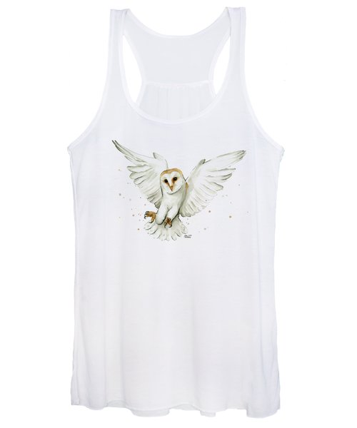 Barn Owl Flying Watercolor Women's Tank Top